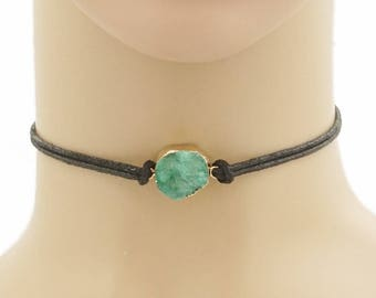 Genuine Natural Teal Blue Druzy Choker Necklace on Cord