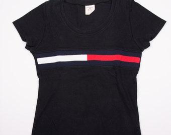 Vintage Tommy Hilfiger Black 90s Cap Sleeve Tshirt