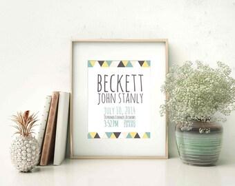 Baby Name Newborn Print (nursery custom print birth date time announcement decor typography inspirational quotes CUSTOMIZABLE)