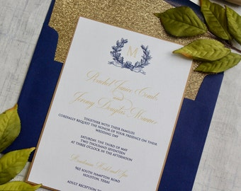 Gold and Navy Wedding Invitations,  Glitter Wedding Invitations, Monogram Wedding Invitations, DEPOSIT to begin your order