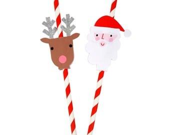 Santa and Reindeer Party Straws