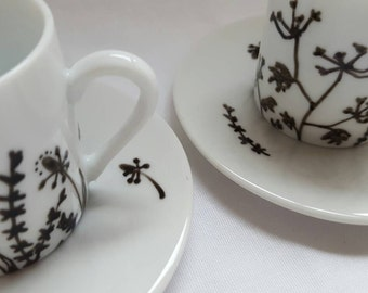 Hand painted espresso cups, gift for coffee lovers, cup and saucer set, small cup and saucer, black and white coffee cups, housewarming gift