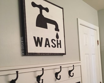 Large Wash Bathroom Sign // Bath // Farmhouse Sign // Rustic // Home // Painted Wood Sign