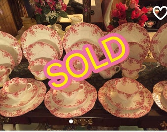 SOLD ! Shelley Dainty Pink tea set for Ten. 32 pieces.