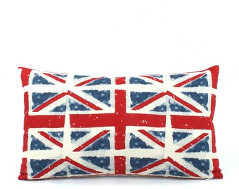 CLEARANCE Union Jack Lumbar Pillow Cover 12x20, Royal Pillow, Great Britain Flag, British Pillow, UK Flag Pillow, Country Flag Pillow