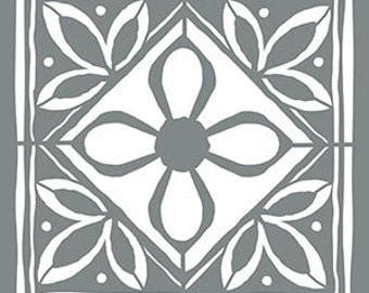"18"" x 18"", Americana Decor Stencils, Lotus Tile, Reusable Stencil"