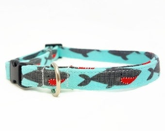 "Cat Collar  - ""Shark"" - Safety Buckle/Breakaway - Light Blue Cat Collar- Cotton Fabric with Webbing Core - Soft/Sturdy - Fun/Cute Cat Collar"