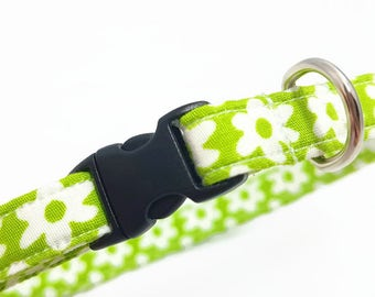 """Cat Collar  - """"Flowers Green"""" - Safety Buckle/Breakaway/Quick Release - Spring Green - Spring Cat Collar - Cute Cat Collar - Cotton"""