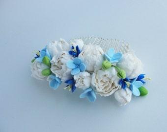 Powder Blue Dusky Blue Dusty Blue Wedding Bridal Hair Comb White Peony Flower Comb Something Blue Wedding Bridesmaid Hair Accessory