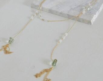 Gold-filled Chain Necklace with Moonstones, Aquamarines and Lemon Quartz.