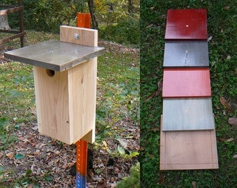 Raw Cedar Eastern Bluebird / Chickadee Nesting Box / Birdhouse with Clean-out and Choice of Roof Color