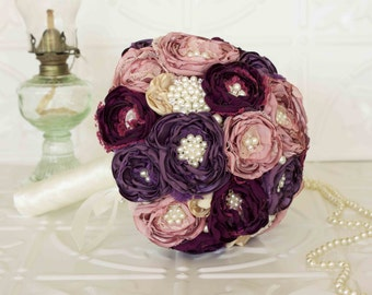 Fabric Flower Bridal Bouquet, Dusty Pink and Purple Satin and Lace Bridal Bouquet, Vintage Inspired Brooch Wedding Bouquet