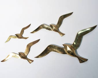 Vintage MCM Brass Seagull Wall Hanging Home Marine Ocean Decor