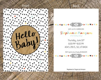 long distance baby shower girl chalkboard 5x7 invitation and