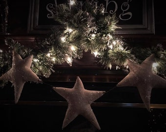 Made to Order: Primitive Christmas Holiday Star garland mica stars with rusty wire