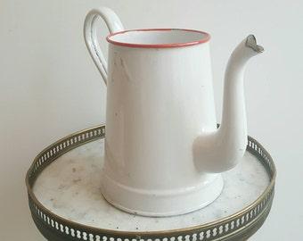 French vintage pitcher - French vintage jug - French enamelware vase - rustic decor - French provincial decor