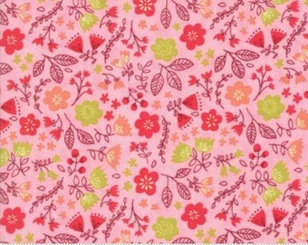 Toss the Garden Pink cotton fabric,  Just Another Walk in the Woods by Moda