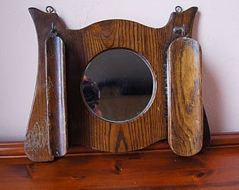 Vintage Oak Mirror and Brush Set.