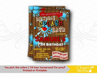 Birthday Splash Bash Invitations.  PRINTABLE or PRINTED Birthday Party Invitation. Water Party, Pool party blue yellow red