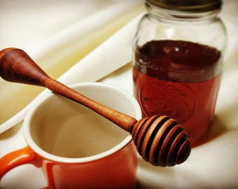 Hand crafted mahogany honey dipper