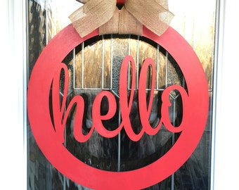 Hello door hanger, door hanger, hello decor, gift idea