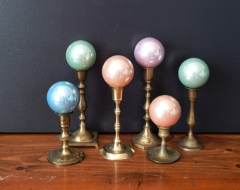 Vintage Christmas Ball Ornaments/Set of 6/Pastel Christmas Balls/Glass Christmas Ball Ornaments/Pastel Christmas Ornaments/Glass Ornaments