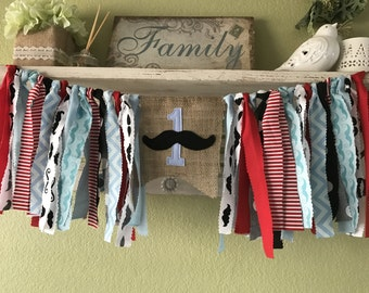 Mustache party Little Man Rag Garland Mr Onederful Banner Highchair Banner -  Mustache Aqua Blue Red Black Colors