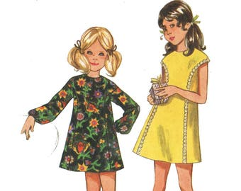Retro 70s Girls A Line Long or Cap Sleeve Mini Dress Pattern Jumper Pattern 1970s Sewing Pattern Butterick 5537 Girls Size 12 Breast 30