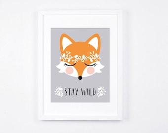 Stay Wild Fox Art Illustration, Printable Art for Nursery, Grey and Peach Nursery Decor, Floral Nursery Wall Art, Woodland Decor