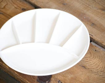 Vintage Fondue Plates or Sushi Plates, White Ceramic Utilitarian Minimalist Plates, Gail-a-Ware Made in Japan, Housewarming Gift for Her