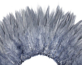 Wholesale 1/2 Yard, Strung Rooster Gray Saddle Feathers (5-7 inches in length) for Crafting, Sewing, Wedding, Decoration SKU: 7A21