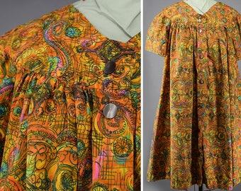 Vintage 70s Muumuu Tent Dress Vibrant Orange Artsy Swirl M L XL