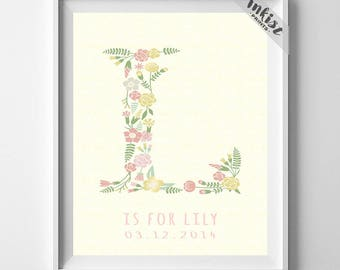 Initials, Custom Initial Print, Alphabet Print, Letter Print, Kid Decor, Lila, Lily, Lisa, Laura, Leah, Lynn, Liberty, 4th of July