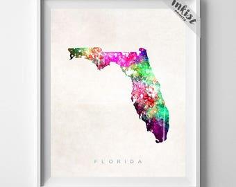 Florida Map, Orlando Print, Florida Poster, Miami Map, Living Room Decor, Map Art, State Art, Map Print, Travel Poster, 4th of July