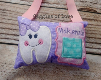 Personalized Tooth Fairy Pillow - Girl Tooth - Purple Glitter Sparkle Pink Aqua