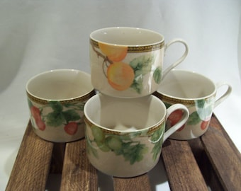 4 Newbury Pattern Coffee Cups and 3 Saucers by PTS International,Fruit Pattern,Strawberries,Peaches,Grapes