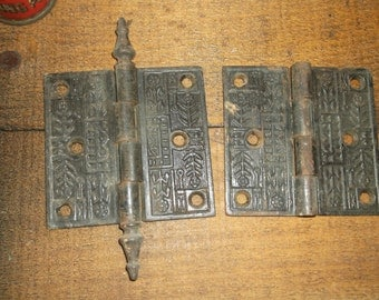 "2 Antique Victorian 1800s Cast Iron Hinges, 1 is Steeple Style, 3 and 1/2"" by 3 and 1/2"", Exquisite East Lake Style"