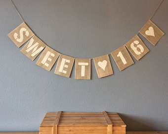 16th Birthday Bunting Banner. sweet 16. Vintage Hessian Rustic