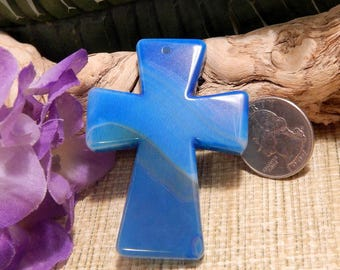 """Large 2 1/2"""" Agate Cross Pendant Necklace Bead Agate Jewelry Crafts Supplies DIY Sale Healing Stone"""