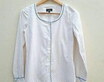 A.P.C Blue and White Print Blouse Size 36 Small