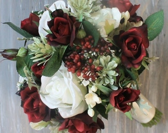 Burgundy Wedding Bouquet Burgundy Bouquet Christmas Bouquet Bridal Bouquet Winter Wedding Burgundy Bridal Bouquet Wedding  Bouquets