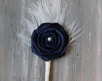 Ostrich Boutonniere  Navy Blue Groom Boutonniere Groomsmen Boutonniere Feather Buttonhole Lapel Pin Wedding Boutonniere Ostrich Feather
