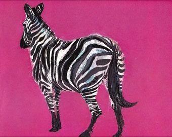 z for zebra 60's mid century african wild animal children's illustration pink retro nursery decor Brian Wildsmith 7.25x9.75 inches