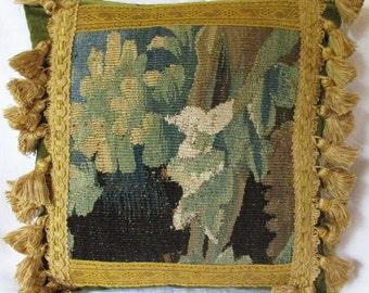 Antique Eighteenth Century Small Square Flemish Verdure Tapestry Cushion - Pillow