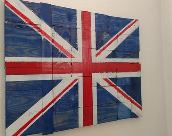 wooden patchwork union jack flag wall hanging