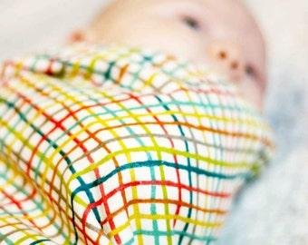 Striped Swaddle Blanket, Organic Baby Shower Gift, Muslin Swaddle, Baby Gauze Blanket, Light Weight Swaddling Blanket, Newborn Essentials