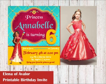 Princess Elena Invitations, Elena of Avalor Birthday Invitations, Elena Invitations, Printable Elena of Avalor Invitation, Elena Birthday