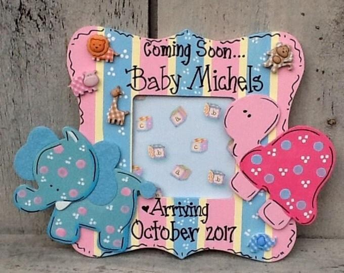 Baby announcement, Nursery frame, baby frame, newborn frame, baby announcement frame, baby shower gift, baptism gift, newborn gift