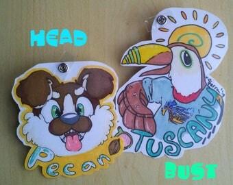 CUSTOM LAMINATED Head or Bust Fursuit Badges