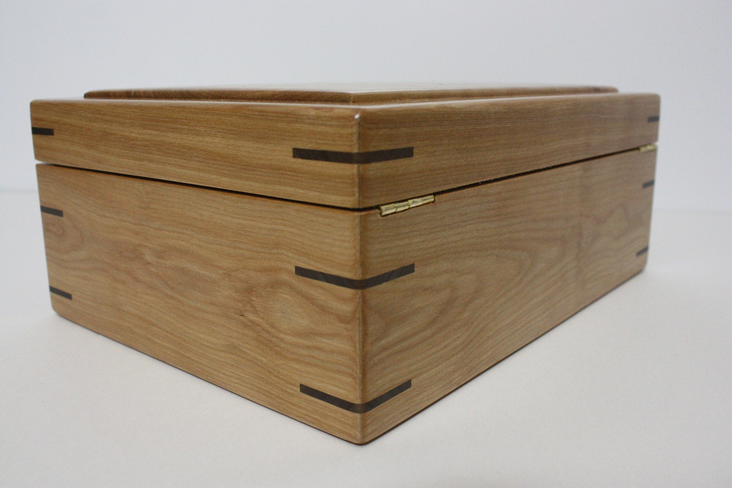 Red Birch Box with Quadrant Hinges For Sale